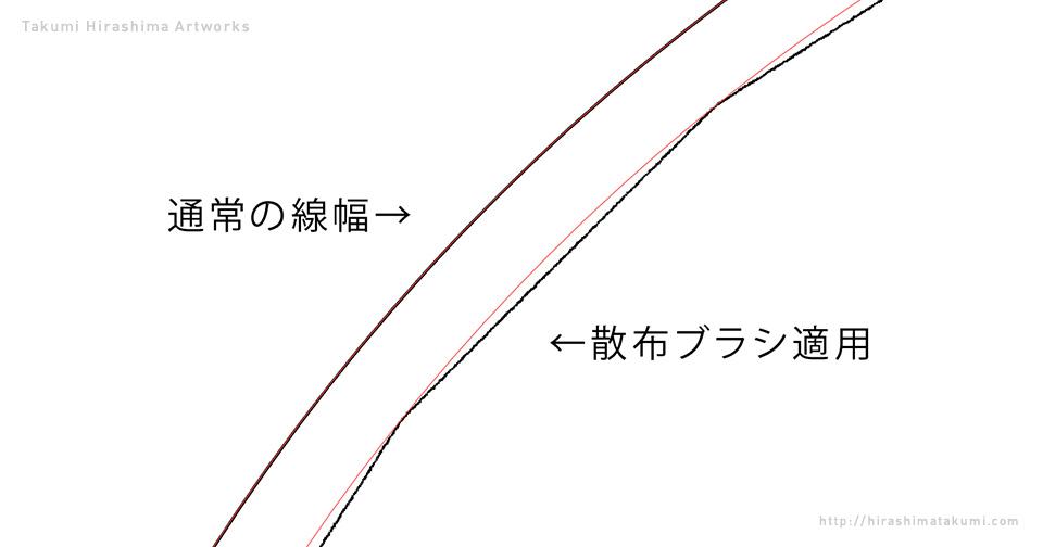 散布ブラシが曲線に沿わずに直線になってしまう時の対処方法